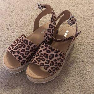 Cheetah Espadrille Wedge Sandals